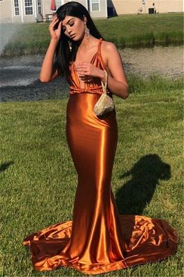 Stunning Sleeveless V-neck Mermaid Prom Dresses Spaghetti Straps Long Evening Gowns_3