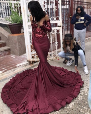 Sexy Wine Red Sequins Trumpet Prom Dresses | Cheap Long Sleeves Evening Dresses On Sale | Suzhou UK Online Shop_5