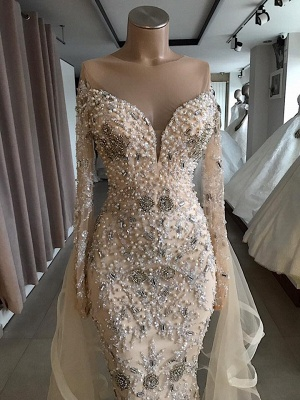 Luxury Long sleeve off-the-shoulder prom dress Salewith fully-covered beads | New Styles_3