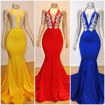 Sexy Low Cut Trumpet Appliques Prom Dresses | Elegant Halter Summer Sleeveless Evening Dresses | Suzhou UK Online Shop_2