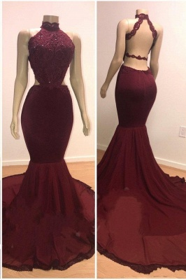 Lace Top High Neck Trumpet Long Wine Red Prom Dresses | Suzhou UK Online Shop_1