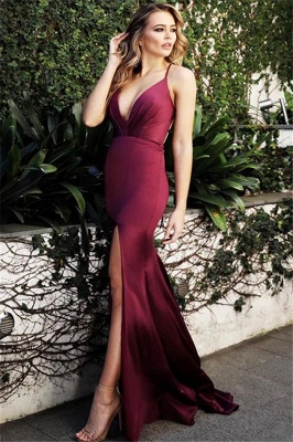 Wine Red Spaghetti-Straps Sexy Low Cut Evening Dress |  Side-Slit Summer Sleeveless Sheath Prom Dresses | Suzhou UK Online Shop_1