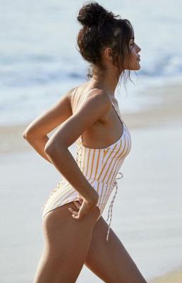 Elegent One piece Bandage Swimsuits with Stripe_3