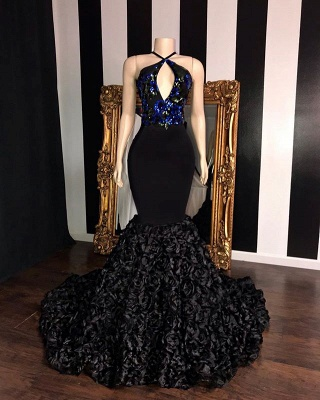 Black Summer Sleeveless Flowers Trumpet Prom Dresses | Elegant Halter Sequins Appliques Evening Gowns | Suzhou UK Online Shop_2