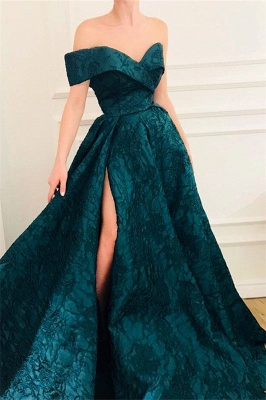 Elegant Fitted Off The Shoulder Lace Evening Dresses Online | New Styles_1