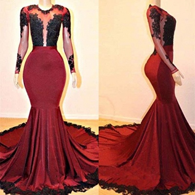 New Arrival Mermaid Sheer Prom Dresses UK With Sleeves_3