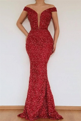 Burgundy fitted Beautiful Mermaid Off The Shoulder Lace Appliques prom dress SaleWith Detachable Skirt | New Styles_2