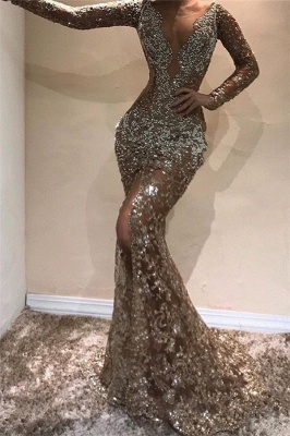 Beautiful Mermaid Sleeved Open Back Shining Sequins Exclusive Prom Dresses UK | New Styles_1
