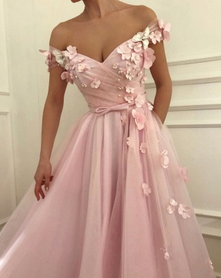 Pink Flowers Princess A-line Quality Tulle Long Cheap Prom Dress | Elegant Off-the-Shoulder Evening Gowns | Suzhou UK Online Shop_3