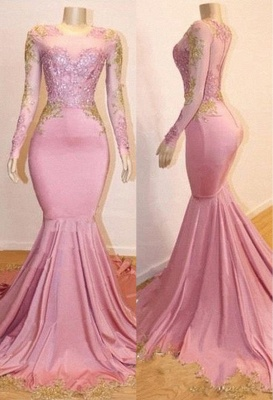 Pink Appliques Long Sleeves Prom Dresses | Glamour Trumpet Evening Gowns | Suzhou UK Online Shop_3