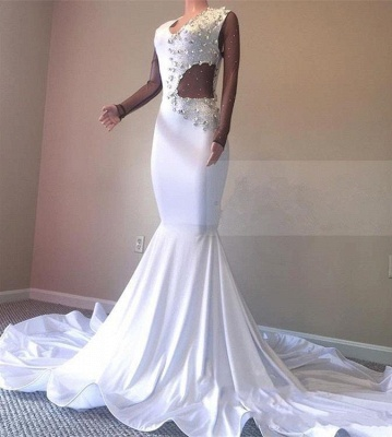 Crystal Beading White Sexy Low Cut Sweep Train Trumpet Evening Gowns | Suzhou UK Online Shop_4