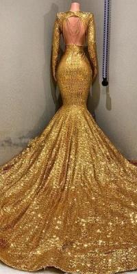 Glamour Trumpet Sequins Long Sleeves Floor Length Prom Dresses | Suzhou UK Online Shop_4