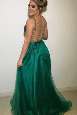 Gormeous V-Neck Sleeveless Fitted Tulle Beading Exclusive Prom Dresses UK | New Styles_2