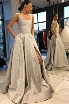 Silver Gorgeous Fitted Sleeveless Exclusive Prom Dresses UK | New Styles_1