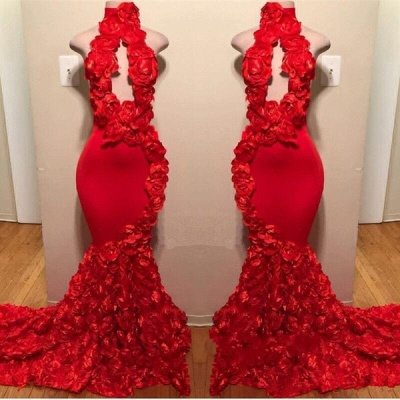 Sexy Flowers Halter Summer Sleeveless Long Prom Dresses | Red Keyhole Trumpet Evening Gowns | Suzhou UK Online Shop_2