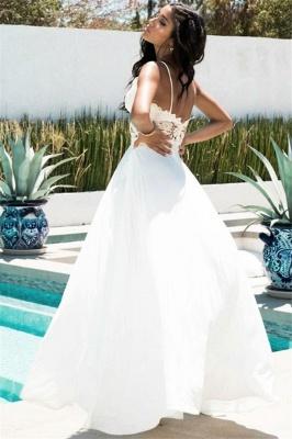 Amazing Spaghetti-Straps Side-Slit Prom Dresses   White Princess A-line Open-Back Evening Gowns   Suzhou UK Online Shop_2