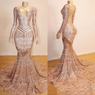 Trumpet Long Sleeves Sexy Low Cut Sequined Sweep Train Prom Dresses | Suzhou UK Online Shop_3