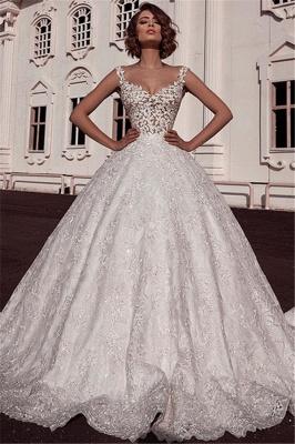 Elegant Puffy Spaghetti Straps Wedding Dresses Sleeveless With Lace Applique Online_1