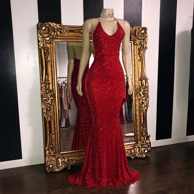 Sexy Sequins Summer Sleeveless Trumpet Prom Dresses | Glitter Halter Red Evening Gowns | Suzhou UK Online Shop_2