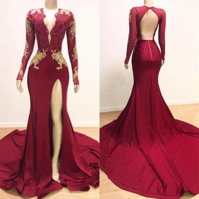 Sexy Low Cut Long Sleeves Lace Appliques Split Trumpet Evening Gowns | Suzhou UK Online Shop_5