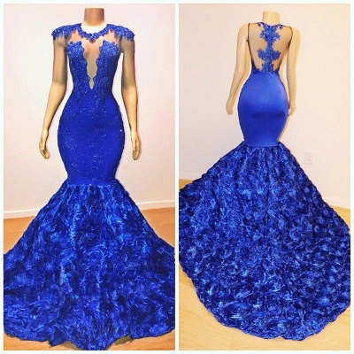 Royal-Blue Flowers Trumpet Long Evening Gowns | Amazing Summer Sleeveless With lace Appliques Prom Dresses | Suzhou UK Online Shop_5