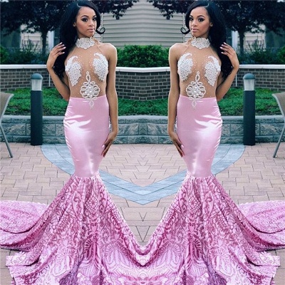 Flirty Pink Mermaid High Neck Sleeveless Sheer Tulle Applique Exclusive Prom Dresses UK | New Styles_3