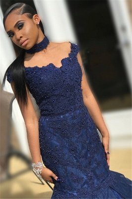 Navy Blue Off-The-Shoulder Beaded Appliques Quality Tulle Trumpet Prom Dresses | Suzhou UK Online Shop_2