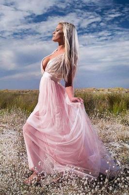Glamorous Sequins Halter Lace Appliques Prom Dresses | Lace-Up Side slit Sleeveless Evening Dresses_2
