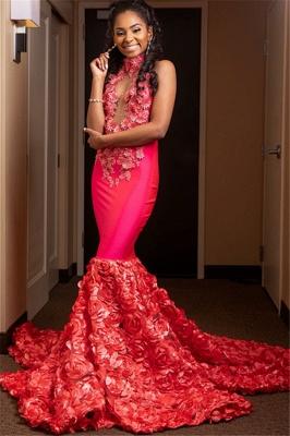 Glamour Halter Flower Applique Summer Sleeveless Long Prom Dress | Suzhou UK Online Shop_2