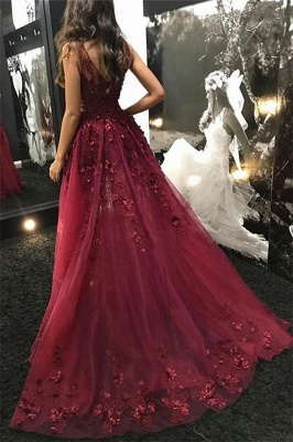 Wine Red Straps Sexy Low Cut Lace Beading Side-Slit Quality Tulle Detachable Princess A-line Evening Gown | Suzhou UK Online Shop_3