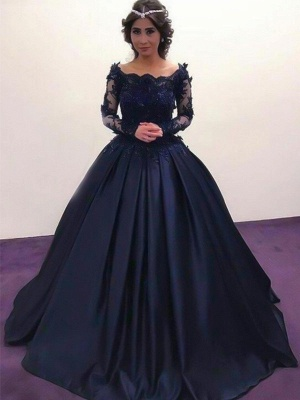 Lace Lace Appliques Bateau Long Sleeves Prom Dresses | Ball Gown Evening Dresses with Beads_3