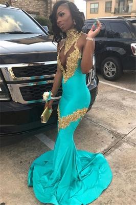 High Neck Crystal Prom Dresses | Sexy Mermaid Falbala Sleeveless Evening Dresses_3