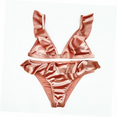 Silky Sexy V-Neck Draped Two-piece Bikini Sets_8