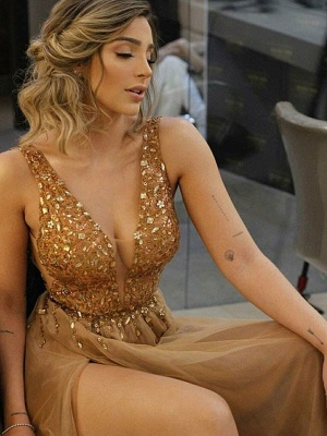 Glamorous Halter Ruffles Prom Dresses Sleeveless Side Slit Sexy Evening Dresses Cheap_3