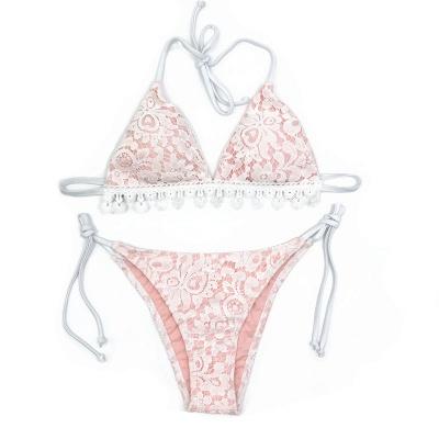 Cute Lace V-neck Two-piece Bandage Bikini Swimwears_3