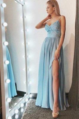 Lace Appliques Crystal Spaghetti-Strap Prom Dresses | Side slit Sleeveless Evening Dresses_2