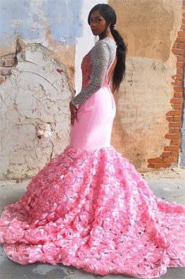 Amazing Pink Flower Sleeved Trumpet Trendy Backless Evening Gown | Suzhou UK Online Shop_2