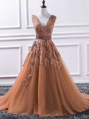Glamorous V-Neck Applique Crystal Prom Dresses Sleeveless Tulle Sexy Evening Dresses_4
