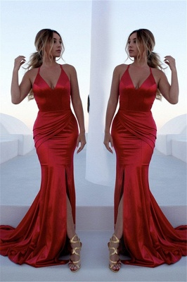 Glamorous Red Halter Lace Up Prom Dresses Sleeveless Ruffles Mermaid Side Slit Sexy Evening Dresses_1