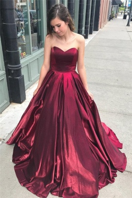 Thick Stain Sweetheart Prom Dresses | Ruffle  Sleeveless Evening Dresses_1