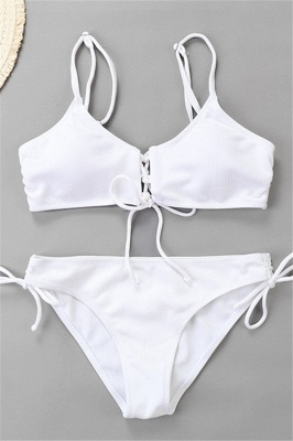 Spaghetti Straps Lace-up Bras Two-piece Bikini Swimsuits_14