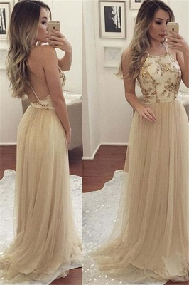 Glamorous Halter Applique Open Back Prom Dresses Sleeveless Sexy Evening Dresses with Crystal_2