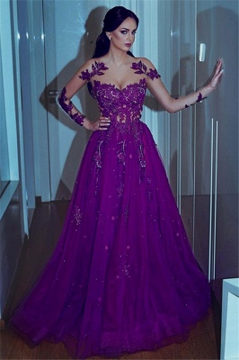 Glamorous Sweetheart Applique Lace Prom Dresses Long Sleeves Sexy Evening Dresses with Beads_1