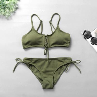 Spaghetti Straps Lace-up Bras Two-piece Bikini Swimsuits_11