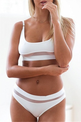Simple Two-piece Hollow Out Mesh Bikini Sets_1