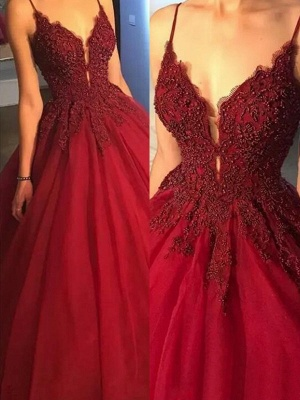 Glamorous Spaghetti Strap Beads Prom Dresses Red Lace Ball Gown Sexy Evening Dresses_2
