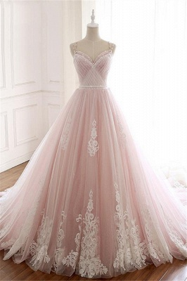 Glamorous Spaghetti-Strap Flower Lace Appliques Prom Dresses | Ball Gown Ruffle Crystal Sleeveless Evening Dresses_1