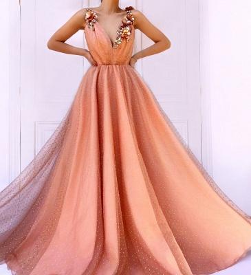 Orange Flower Appliques Straps Summer Sleeveless Quality Tulle Princess A-line Prom Dress | Suzhou UK Online Shop_3