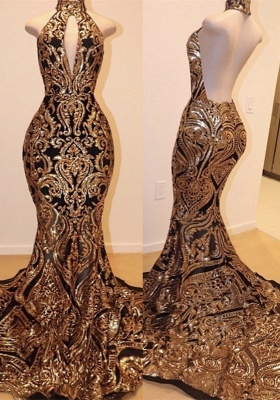 Halter Keyhole Neckline Sequins Appliqued Trumpet Prom Dresses | Suzhou UK Online Shop_1