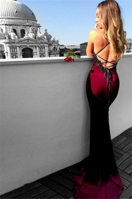 Lace Up Halter Applique Sleeveless Prom Dresses Mermaid  Popular Sexy Evening Dresses_2
